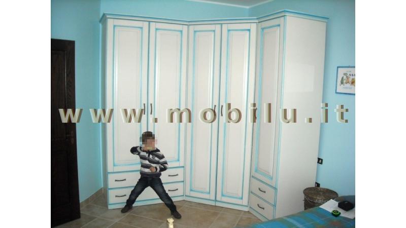 Camerette e camerette per bambibi Lecce e provincia in legno laccato bianco completa di armadio